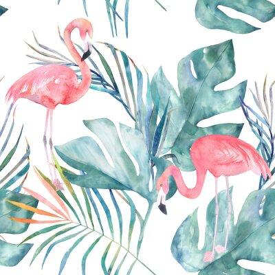 Fotomural Padrão tropical sem costura com flamingo e folhas. Cópia de verão de aquarela. Exotic hand drawn illustration
