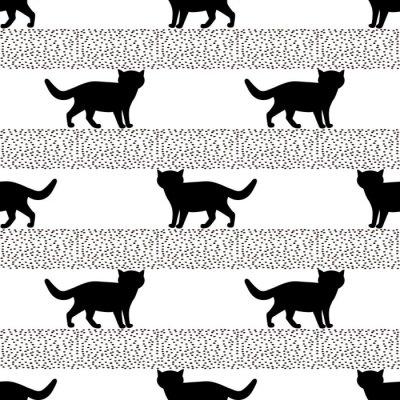 Fotomural Padrões sem emenda com silhuetas do gato preto.