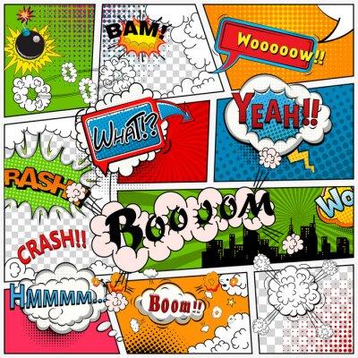 Fotomural Página da banda desenhada dividida por linhas com bolhas de discurso, efeito de sons. Retro fundo mock-up. Modelo da banda desenhada.