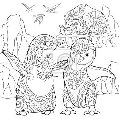 Pagina De Colorir Pinguins Imperiaveis Ursos Polares E Gaivotas
