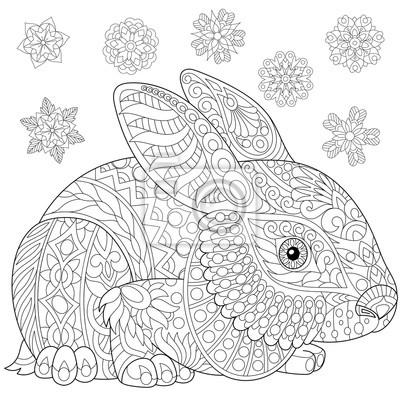 página para colorir de coelho coelho e flocos de neve de inverno