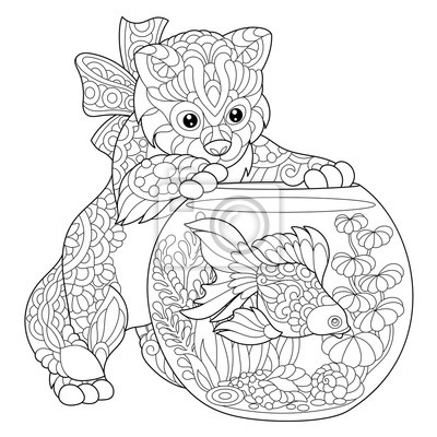 Pagina Para Colorir De Gatinho Se Perguntando Sobre Goldfish