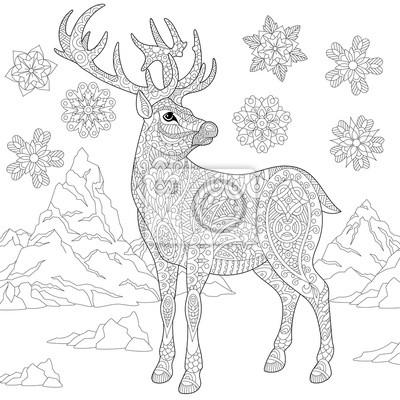 página para colorir de veados renas e flocos de neve de inverno