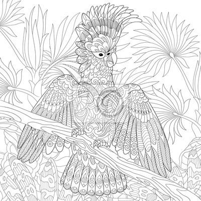 Pagina Para Colorir Do Papagaio De Cacatua Australiano Na Floresta
