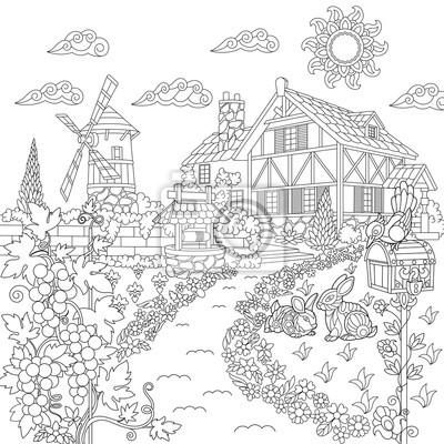 Pagina Para Colorir Livro Da Paisagem Rural Casa Da Fazenda