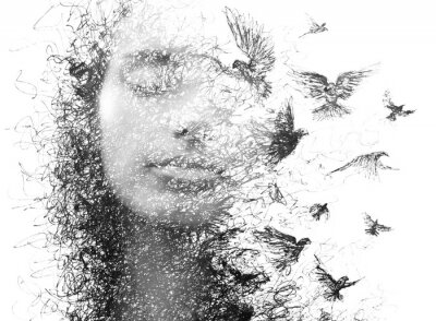 Fotomural Paintography. Double Exposure portrait of an elegant woman with closed eyes combined with hand made pencil drawing of a flock of birds flying freely resembling disintegrating particles of her being