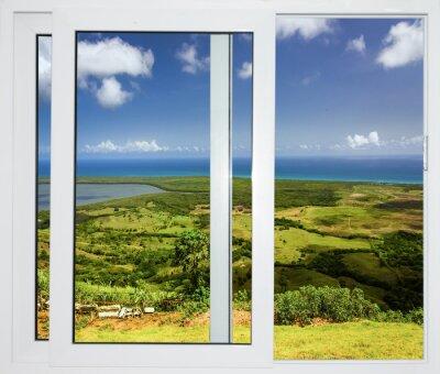 Fotomural Paisagem da natureza com uma vista através de uma janela