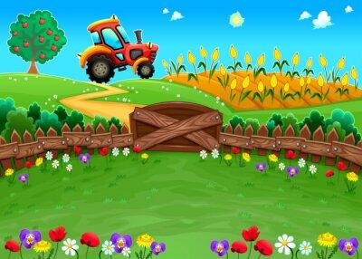 Fotomural Paisagem engraçada com trator e campo de milho.