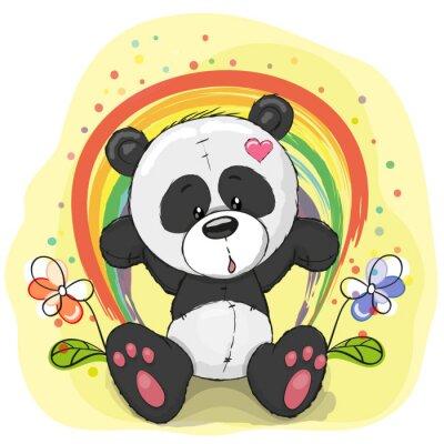 Fotomural Panda com arco-íris