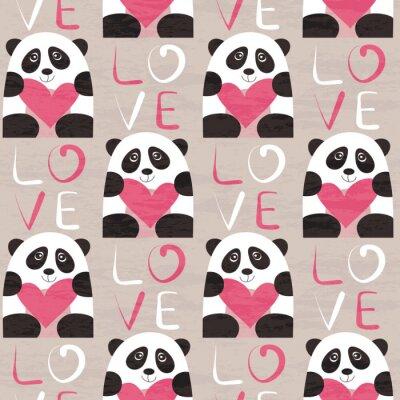 Fotomural Panda com coração padrão sem emenda