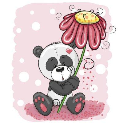 Fotomural Panda com flor