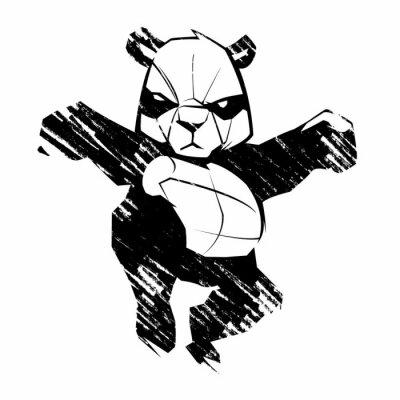 Fotomural Panda esboço artes marciais