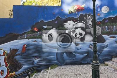 Fotomural Panda Graffiti in Lisbon, in Calcada do Lavra public Street