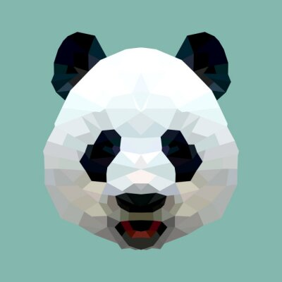 Fotomural panda head polygon isolated vector