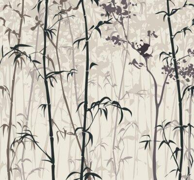 Fotomural Panda na floresta de bambu