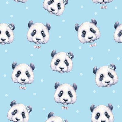 Fotomural Pandas na luz - fundo azul. Teste padrão sem emenda. Desenho da aguarela. Ilustração das crianças. Trabalho manual