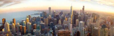 Fotomural Panorama Chicago aérea ao pôr do sol, IL, EUA