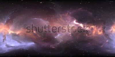 Fotomural Panorama da nebulosa do espaço de 360 graus, projeção equirectangular, mapa do ambiente. Panorama esférico de HDRI. Fundo de espaço com a nebulosa e estrelas. Ilustração 3d