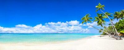 Fotomural Panorama da praia com mar e palmeiras