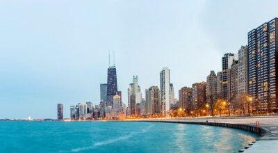 Fotomural Panorama de Chicago do Lago Michigan