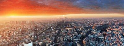 Fotomural Panorama de Paris ao pôr do sol, cityscape