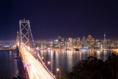Fotomural Panorama de San Francisco Bay Bridge e di notte