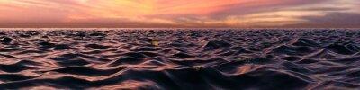 Fotomural Panorama do por do sol cor-de-rosa sobre ondas de oceano
