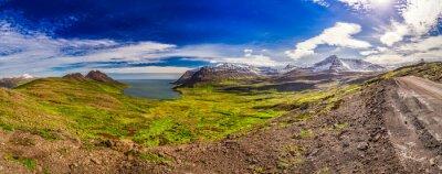 Fotomural Panorama, vale, ártico, mar, montanhas, islândia