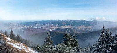Fotomural Panorâmico, vista, montanha, cume, vale
