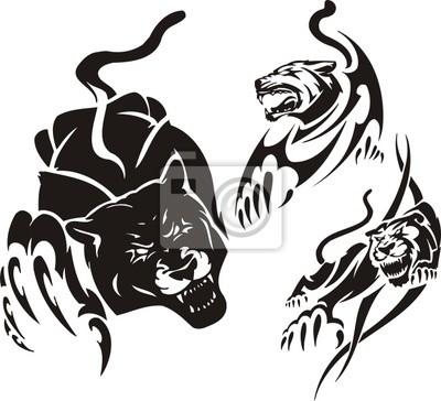 Pantera Preta E Duas Leoas Predadores Tribais Fotomural