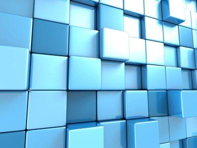 Fotomural Papel de parede abstrato azul cubos de fundo