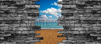Fotomural Papel de parede da paisagem do teto da parede de pedra 3D