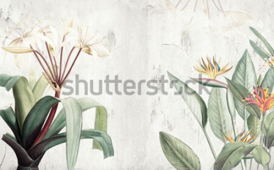 Fotomural Papel de parede de folhas tropicais verdes da Amazônia