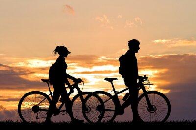 Fotomural Par, bicicleta, pôr do sol