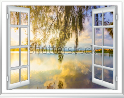 Fotomural Paraíso vista para o mar da janela na ilha do dia ensolarado de verão