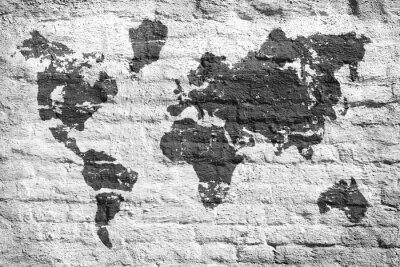 Fotomural Parede branca e um mapa de imagem do mundo