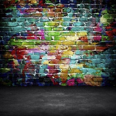 Fotomural parede de tijolo dos grafittis