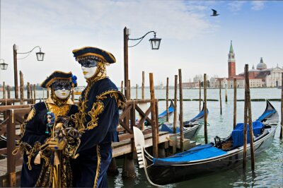 Fotomural Pares na máscara do carnaval em Veneza.