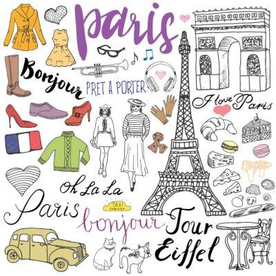 Fotomural Paris doodles elementos. Entregue o grupo desenhado com torre Eiffel e produziu o café, arco do triumf do táxi, elementos da forma, gato e buldogue francês. Desenho, doodle, cobrança, lettering, isola