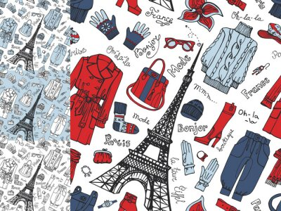 Fotomural Paris Fashion.Clothing padrão sem emenda do doodle set.Tricolor