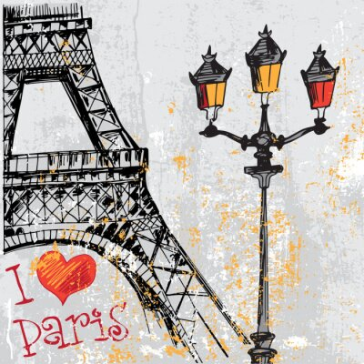 Fotomural Paris, grunge, fundo, eiffel, torre