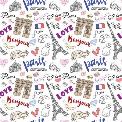 Fotomural Paris, seamless, Padrão, mão, desenhado, esboço, elementos, -, eiffel, torre, Triumf, arco, moda, Desenho, doodle, vetorial, Ilustração, isolado, branca
