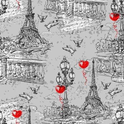 Fotomural Paris. Vintage padrão sem emenda 3