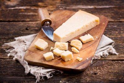 Fotomural Parmesão, queijo, madeira, tábua