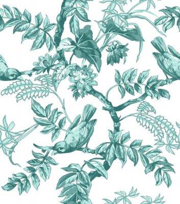 Fotomural Pássaros, flores, seamless, padrão