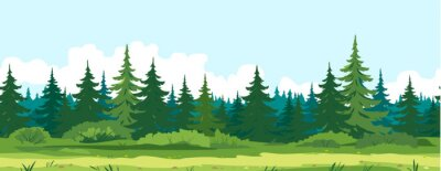 Fotomural Path along spruce forest with big green trees game background tillable horizontally, tourist route near the dense spruce forest and bushes in summer sunny day nature illustration background