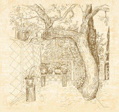 Fotomural Pátio ensolarado do verão na pena do estilo do doodle da arte. Esboço desenhado mão do vetor com canvas textured o fundo.