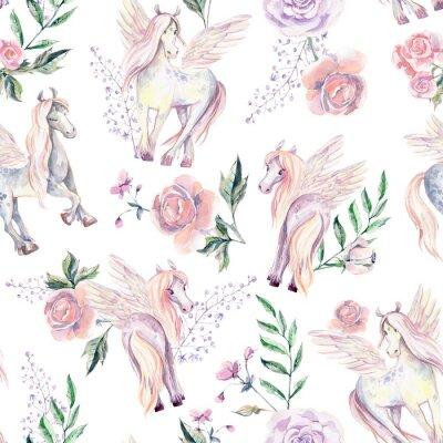 Fotomural Pegasuses mágicos no padrão sem emenda. Ilustração em aquarela, seja