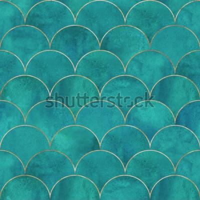 Fotomural Peixe sereia escala padrão sem emenda de luxo japonês de onda. Aquarela mão desenhada fundo azul-petróleo escuro turquesa com linha de ouro. Escala de aquarela em forma de textura. Imprimir para têxte