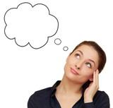 Pensando mulher de negócios que olha acima no discurso vazio isola bolha ee2a9076f24